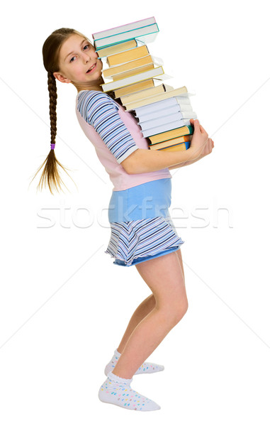 Stock photo: Girl with heap of books