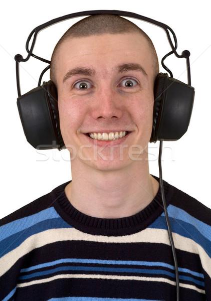 Homme téléphones blanche musique amusement noir Photo stock © pzaxe