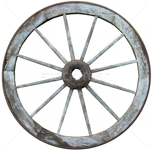 Twelve spoked timber and steel wagon wheel  Stock photo © pzaxe