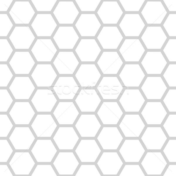 Vector seamless pattern of grey and white hexagonal net Stock photo © pzaxe