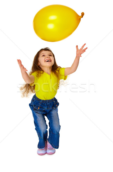 Little girl chasing balloon on white background Stock photo © pzaxe