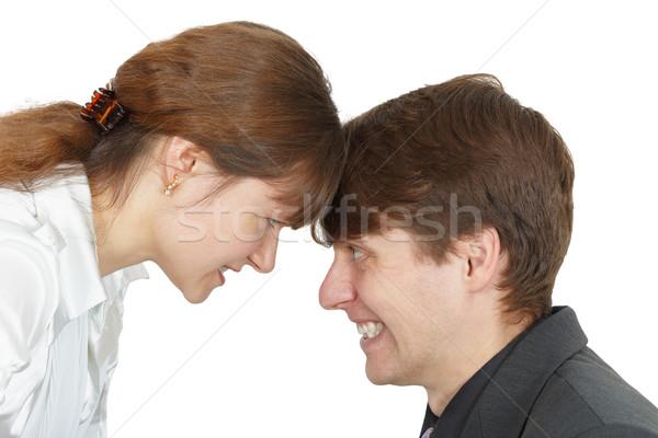 Komoly konfrontáció férfiak nők fehér nő Stock fotó © pzaxe