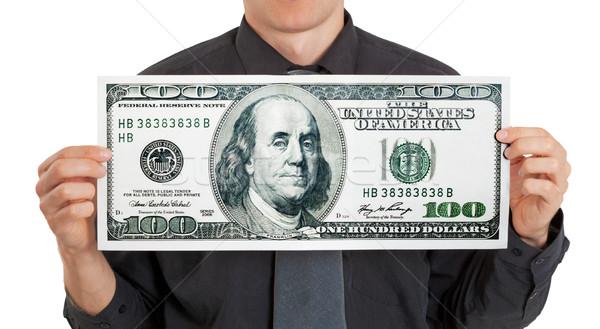Stock photo: Businessman holding money