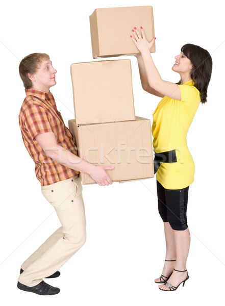 Girl loads the man with cardboard boxes Stock photo © pzaxe