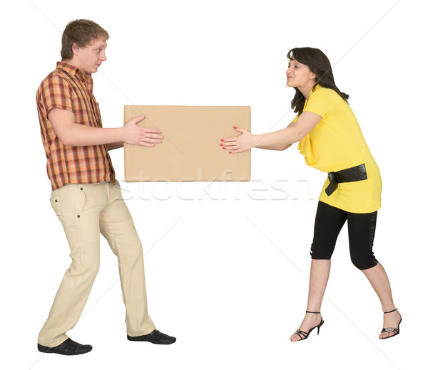 Guy and the girl divide big box Stock photo © pzaxe