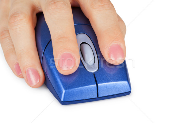 Hand holds computer mouse close up Stock photo © pzaxe