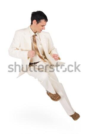 Man dynamisch pose hoogspringen witte achtergrond Stockfoto © pzaxe