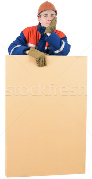 Doboz sisak fehér férfi munkás állás Stock fotó © pzaxe
