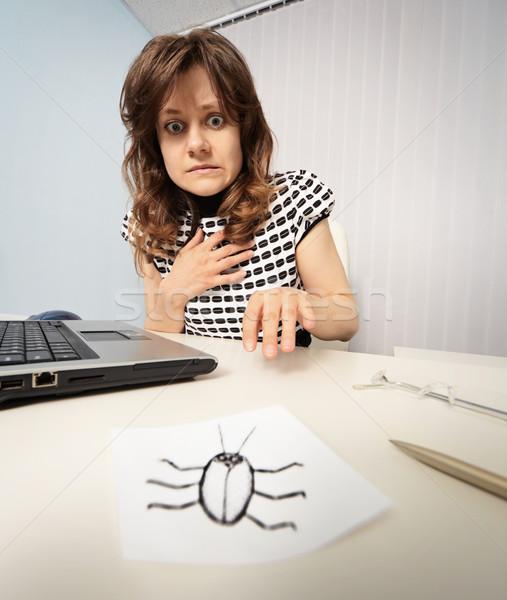 Foto stock: Mujer · miedo · papel · cucaracha · negocios
