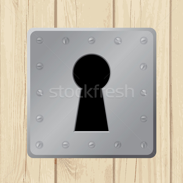 Stock photo: Vector illustration - keyhole on wooden door