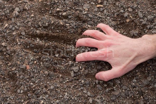 Hand clinging to a stony ground Stock photo © pzaxe