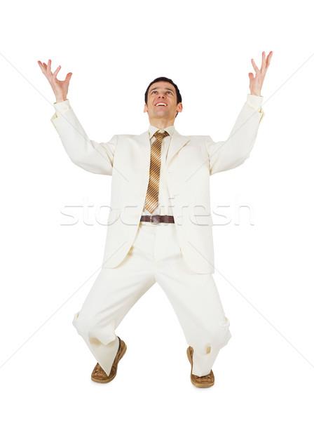 Stockfoto: Man · jonge · man · geïsoleerd · witte · gelukkig · achtergrond
