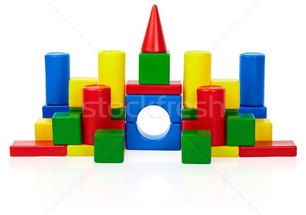 Zabawki zamek odizolowany biały kolor bloków Zdjęcia stock © pzaxe