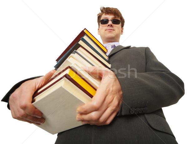 Stock fotó: Személy · fekete · szemüveg · könyvek · kezek · üzlet