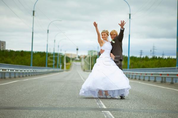 Recién casado diversión carretera pie país Foto stock © pzaxe