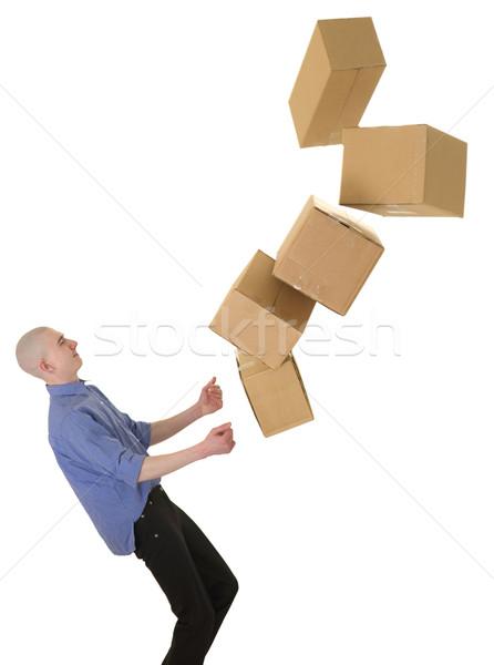 Férfi karton cseppek dobozok fehér háttér Stock fotó © pzaxe
