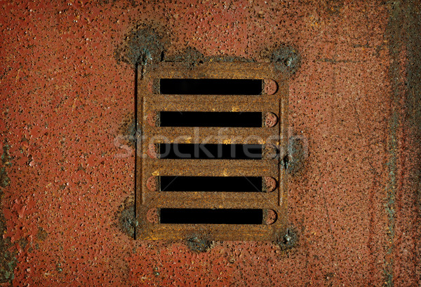 Lattice on steel rusty wall - industrial background Stock photo © pzaxe