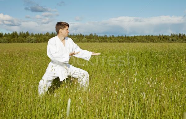 Young karateka trains in open air Stock photo © pzaxe