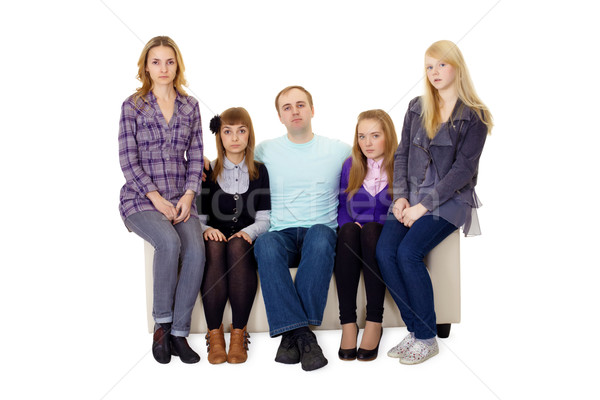 An ordinary large family sitting on couch Stock photo © pzaxe