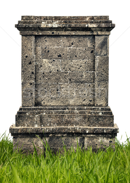 Large headstone monument on white background Stock photo © pzaxe