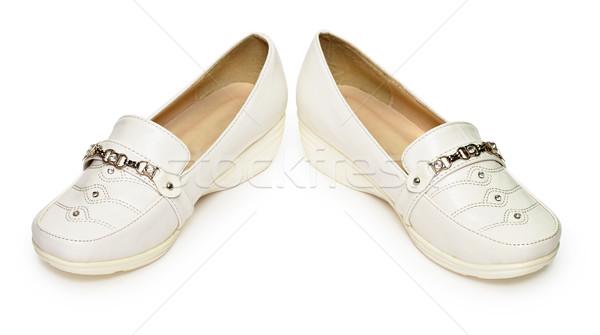 A buon mercato scarpe artificiale pelle isolato bianco Foto d'archivio © pzaxe