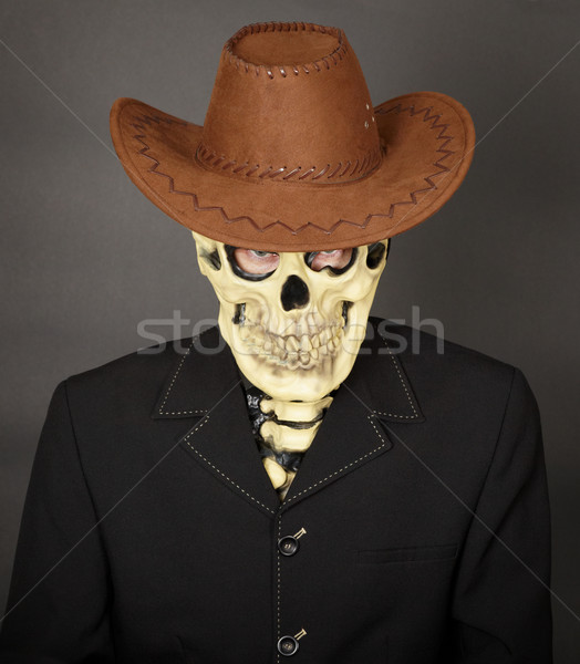 Man - skeleton in leather cowboy hat Stock photo © pzaxe