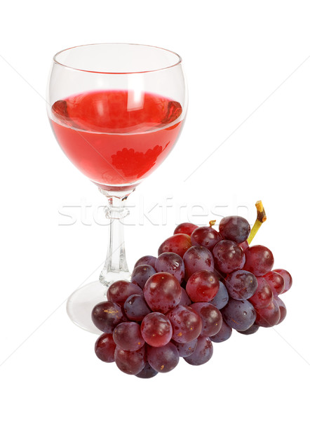 Red wine and grapes cluster Stock photo © pzaxe