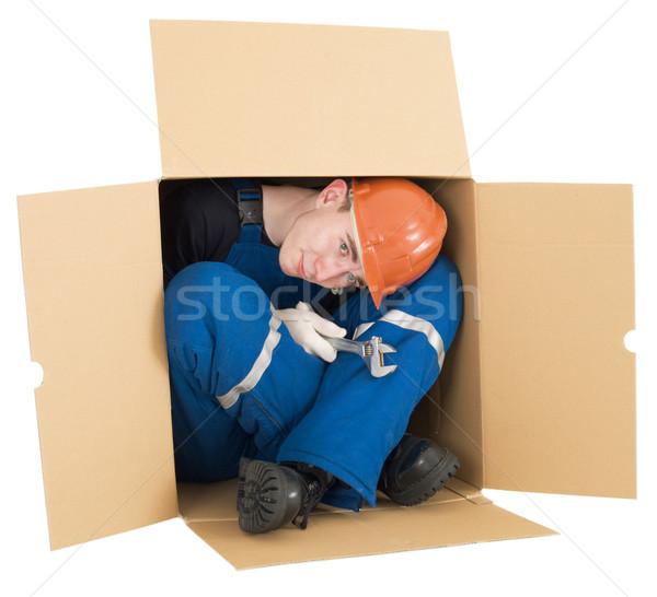 Segédmunkás doboz sisak fehér kéz férfi Stock fotó © pzaxe