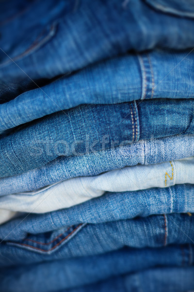 Jeans in Assorted Shades of Blue, Folded and On Display Stock photo © pzaxe