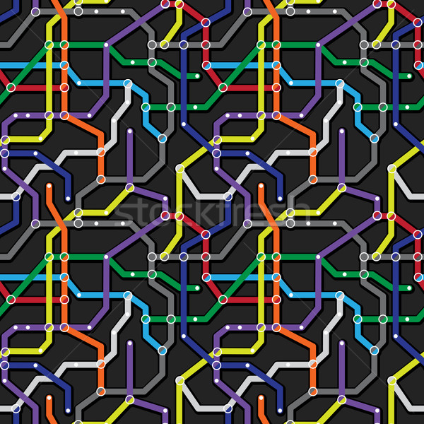 Colorful metro scheme background. Abstract seamless vector patte Stock photo © pzaxe