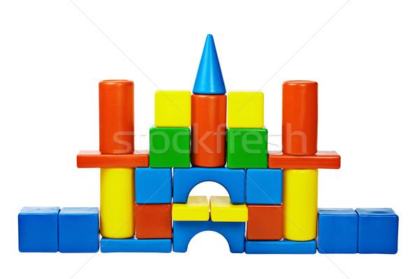 Stock fotó: Kastély · szín · építőkockák · színes · izolált · fehér