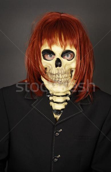 Drôle homme masque crâne perruque costume Photo stock © pzaxe