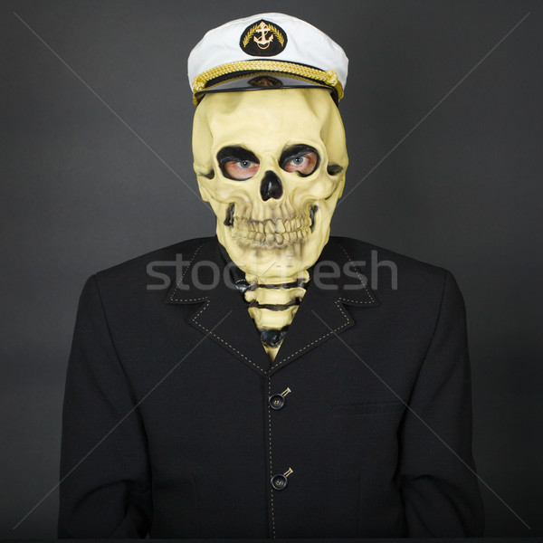 Man - skeleton in a naval cap Stock photo © pzaxe