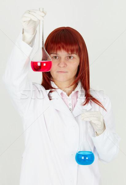 Kobieta chemik kolorowy lekarza pracy model Zdjęcia stock © pzaxe