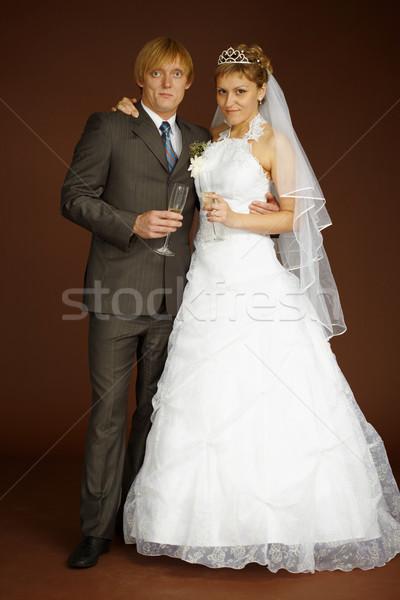 Stockfoto: Studio · portret · bruidegom · bruid · smart · wijnglazen