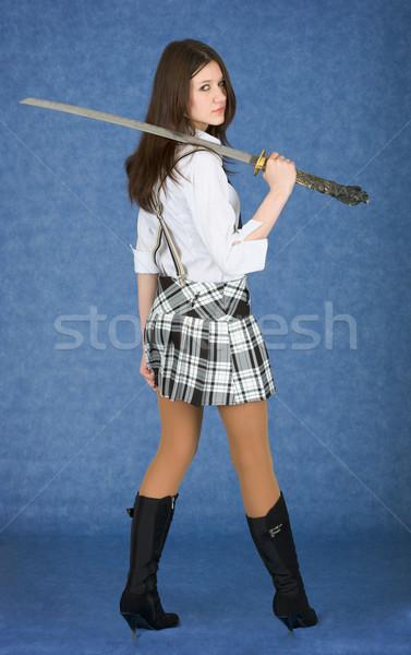 Gyönyörű lány japán kard váll kék nő Stock fotó © pzaxe
