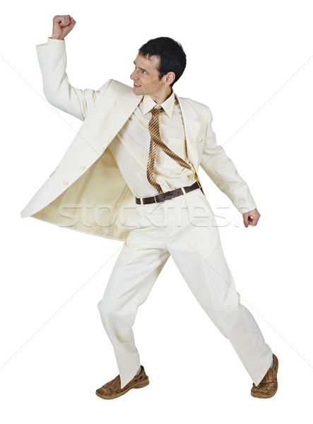 Fighting businessman puts a punch, isolated on white Stock photo © pzaxe