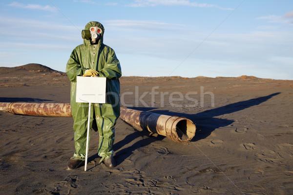 Naukowiec ostrzeżenie tabletka zakażenie człowiek piasku Zdjęcia stock © pzaxe