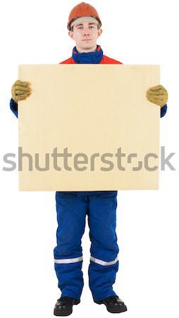 Vak helm witte man Blauw Rood Stockfoto © pzaxe