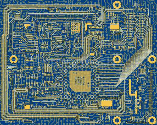 Tech industrial electronic blue circuit background Stock photo © pzaxe