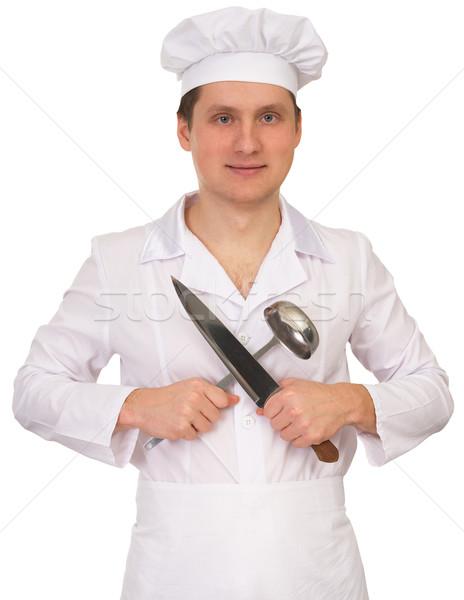Gotować nóż chochla biały kuchnia usługi Zdjęcia stock © pzaxe