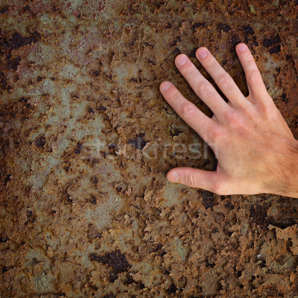 Mano edad Rusty superficie de metal pared fondo Foto stock © pzaxe