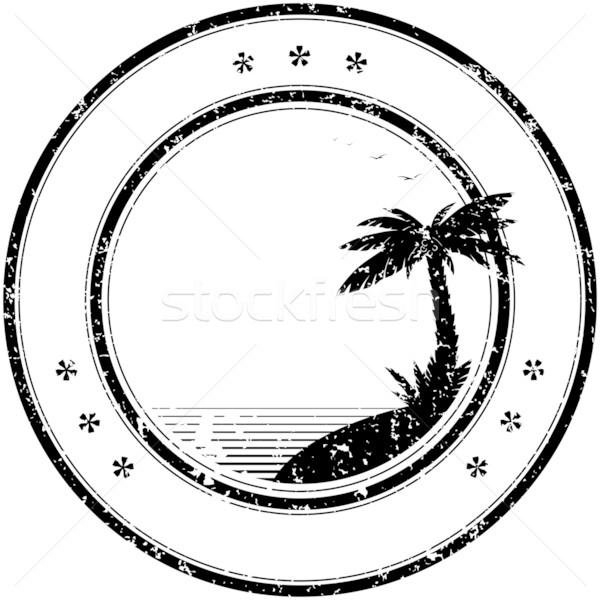 Rubber vector stamp with tropical palm tree Stock photo © pzaxe