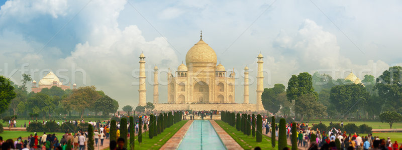 Híres Taj Mahal turisták nap épület világ Stock fotó © pzaxe