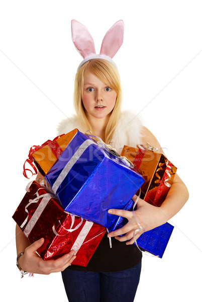 Young blonde in a bunny suit with gifts Stock photo © pzaxe