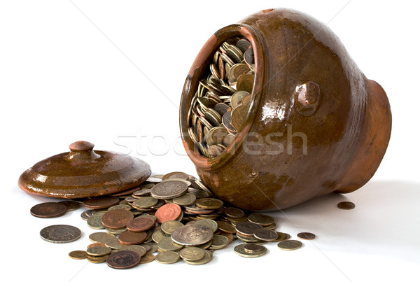 Clay pot with antique coins and lid Stock photo © pzaxe