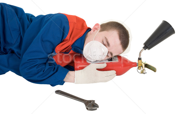 Labourer with fire extinguisher Stock photo © pzaxe