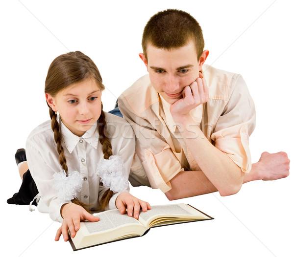 Adam kız okuma kitap okumak beyaz Stok fotoğraf © pzaxe