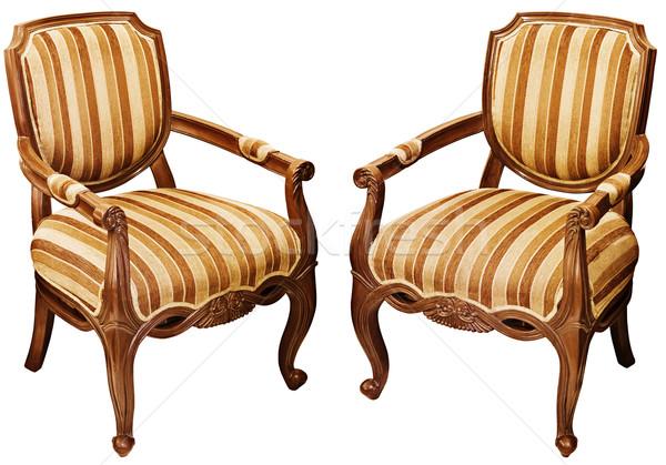 Vintage legno barocco isolato bianco due Foto d'archivio © pzaxe