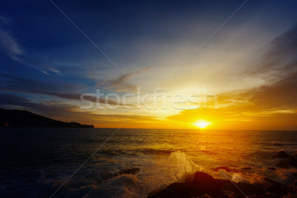 The dazzling bright sunset over a tropical ocean. Thailand Stock photo © pzaxe